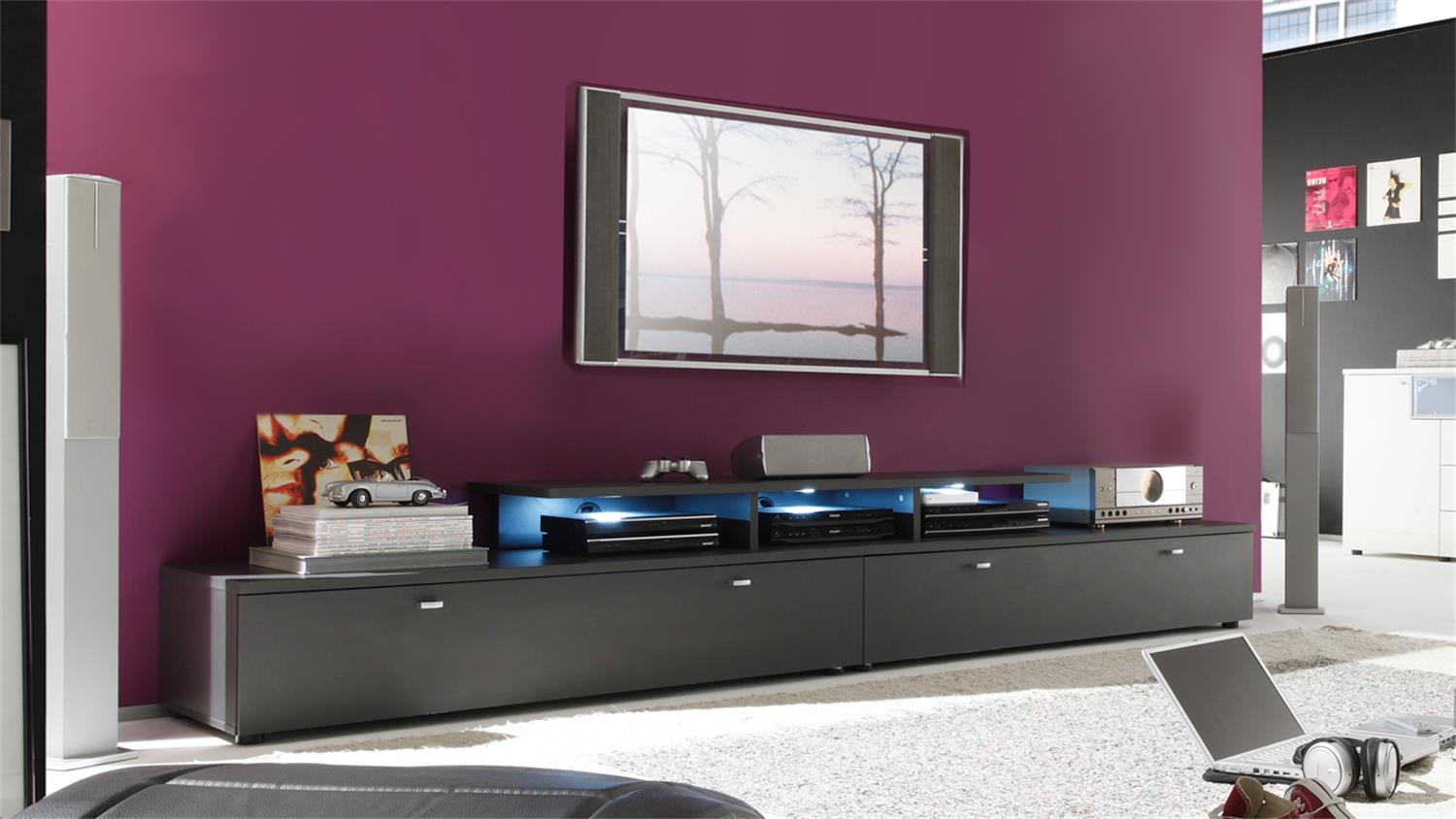 tv lowboard kombination tetis graphit 280cm. Black Bedroom Furniture Sets. Home Design Ideas