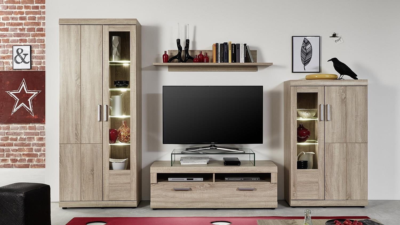 wohnwand forai 2 eiche s gerau hell inkl led beleuchtung. Black Bedroom Furniture Sets. Home Design Ideas