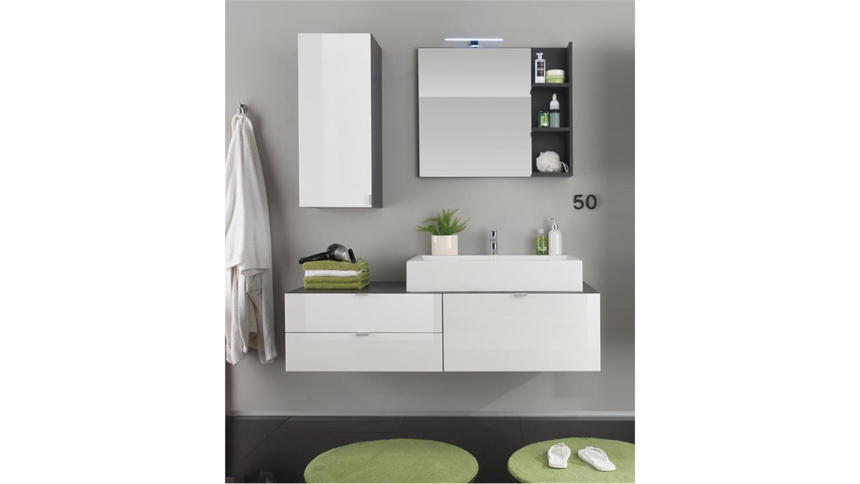 badezimmer set beach 4 teilig wei hochglanz grau mit waschbecken. Black Bedroom Furniture Sets. Home Design Ideas