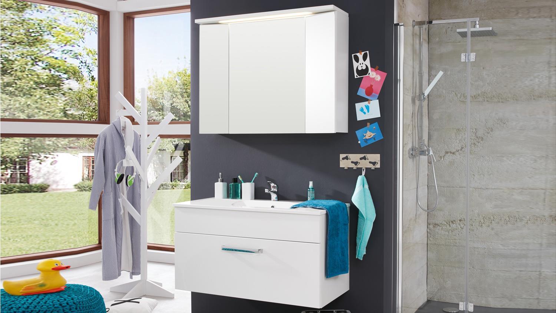 badezimmer set 2 tlg spiegelschrank 100x72 wei hochglanz. Black Bedroom Furniture Sets. Home Design Ideas