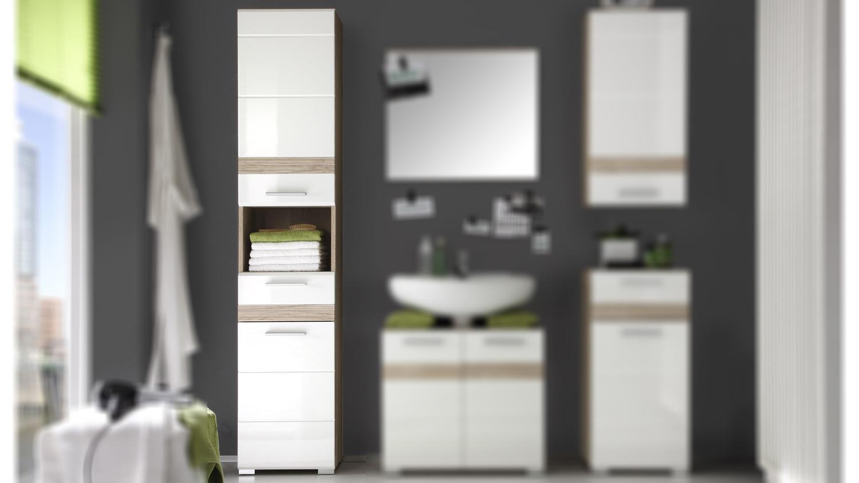 bad hochschrank setone eiche san remo und wei hochglanz. Black Bedroom Furniture Sets. Home Design Ideas