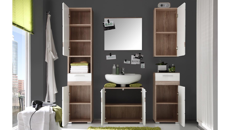 badezimmer setone 5 teilig wei hochglanz eiche san remo. Black Bedroom Furniture Sets. Home Design Ideas