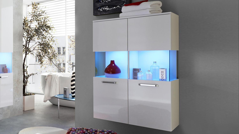 bad stauraum h ngeschrank sky badschrank in wei hochglanz. Black Bedroom Furniture Sets. Home Design Ideas