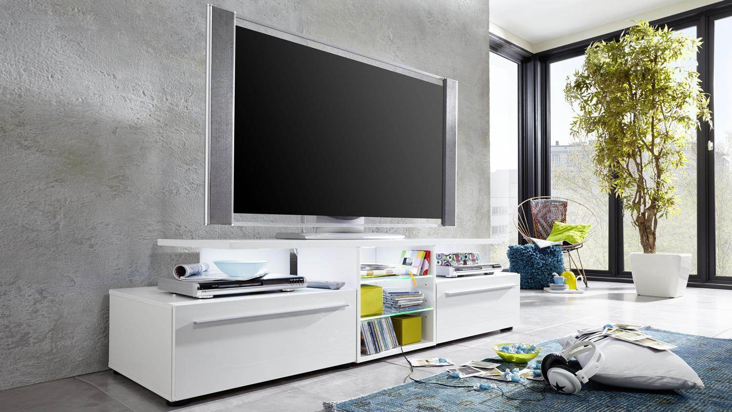 tv lowboard version wei hochglanz tv board. Black Bedroom Furniture Sets. Home Design Ideas