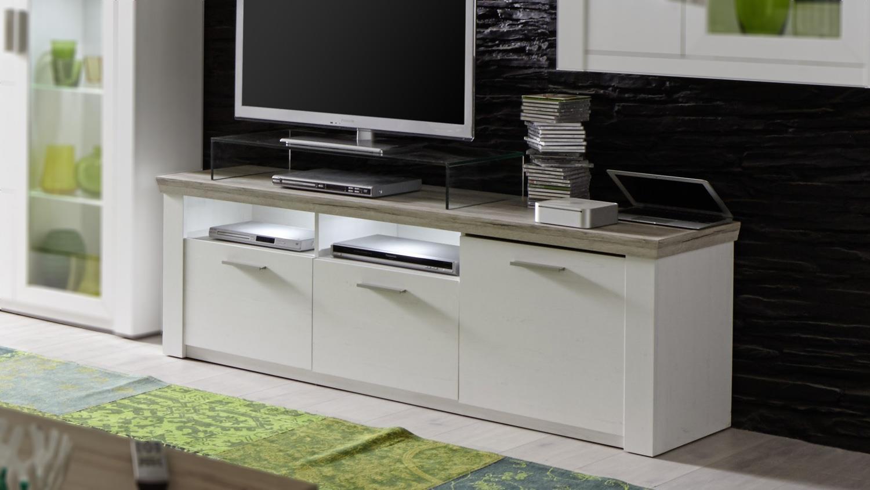 tv board elia in pinie wei und eiche san remo lowboard. Black Bedroom Furniture Sets. Home Design Ideas