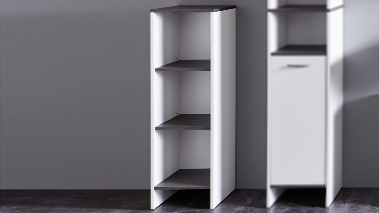 bad regal san diego in wei und rauchsilber badschrank bad. Black Bedroom Furniture Sets. Home Design Ideas
