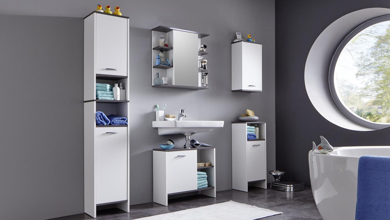 Badezimmer 2 SAN DIEGO Weiß Rauchsilber Badmöbel Bad 5 Tlg