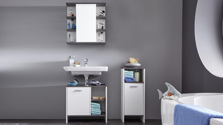 badezimmer set 3 san diego in wei melamin und rauchsilber. Black Bedroom Furniture Sets. Home Design Ideas