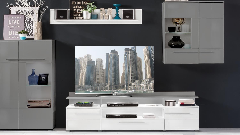 tv lowboard 1 vision wei hochglanz tiefzieh mit wandboard. Black Bedroom Furniture Sets. Home Design Ideas