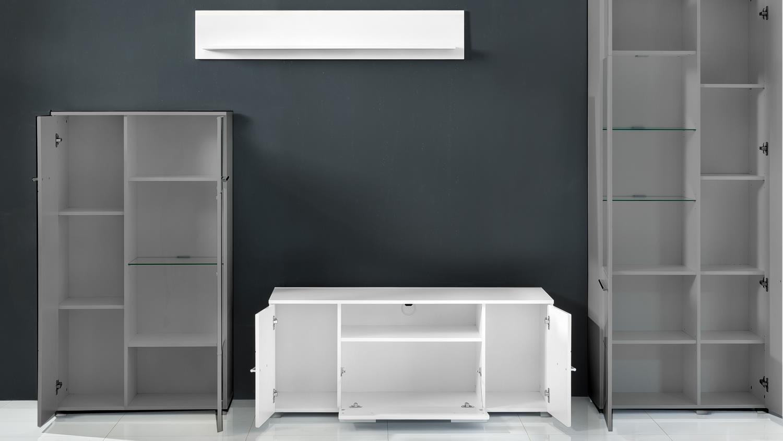 tv lowboard 2 vision wei hochglanz tiefzieh mit wandboard. Black Bedroom Furniture Sets. Home Design Ideas