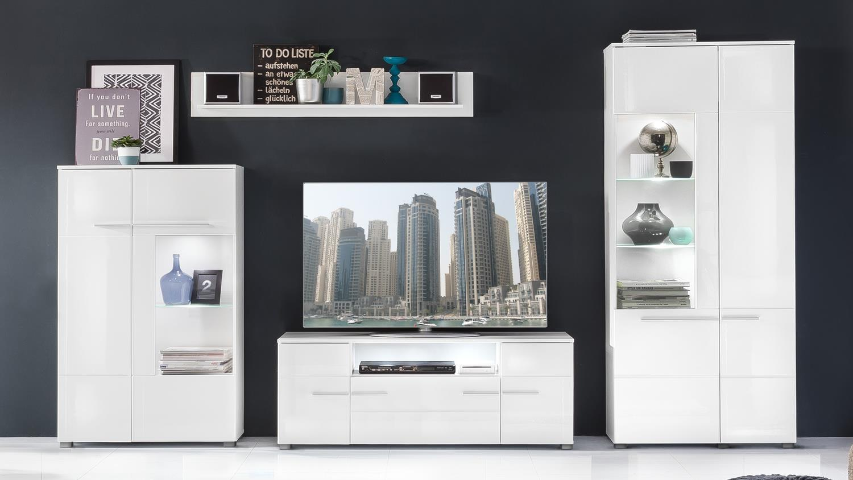 wohnwand 1 vision anbauwand wei hochglanz mit led. Black Bedroom Furniture Sets. Home Design Ideas