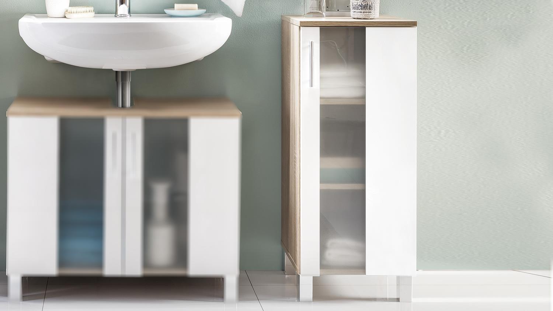 bad kommode 1 porto in eiche s gerau und wei melamin. Black Bedroom Furniture Sets. Home Design Ideas