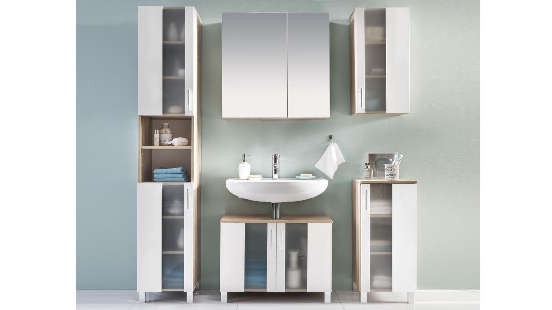 badezimmer set 1 porto eiche s gerau und wei melamin. Black Bedroom Furniture Sets. Home Design Ideas