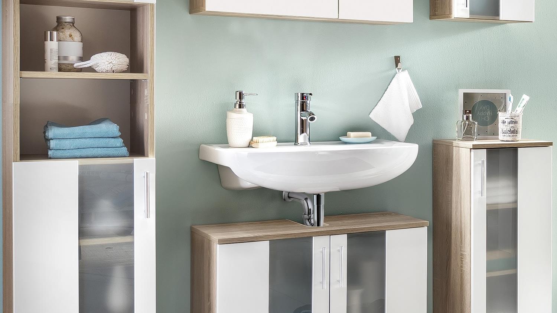 badezimmer set 3 porto in eiche s gerau und wei melamin. Black Bedroom Furniture Sets. Home Design Ideas