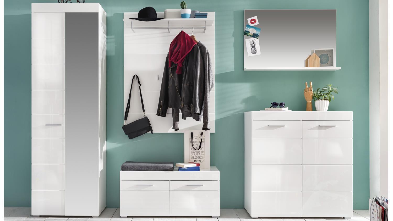 Moderne Wandgarderobe Weiß.Garderobe Set 2 Amanda In Weiß Hochglanz Tiefzieh