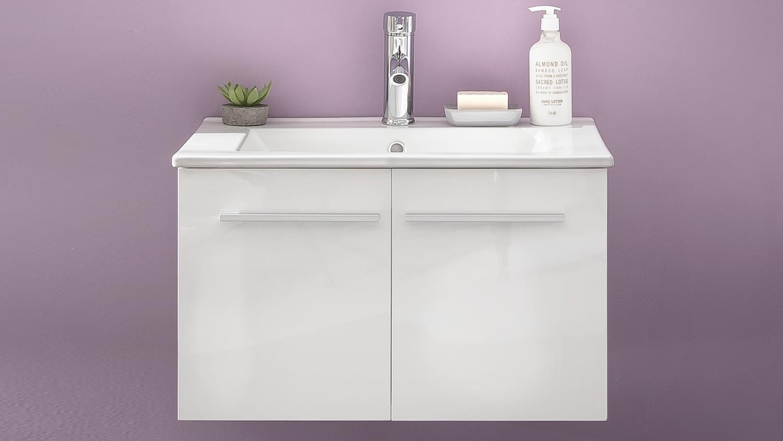 Waschbeckenunterschrank ttb 03 wei glanz mit waschbecken for Waschbeckenunterschrank mit waschbecken