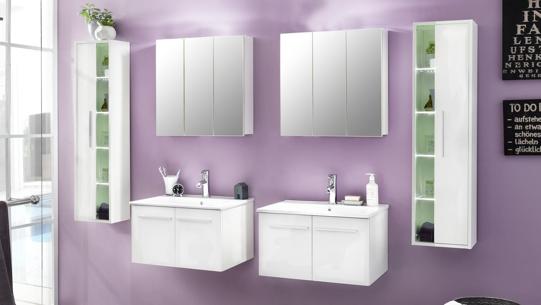 Badezimmer set ttb 03 wei glanz mit waschbecken 6 teilig for Badezimmer sets mit waschbecken
