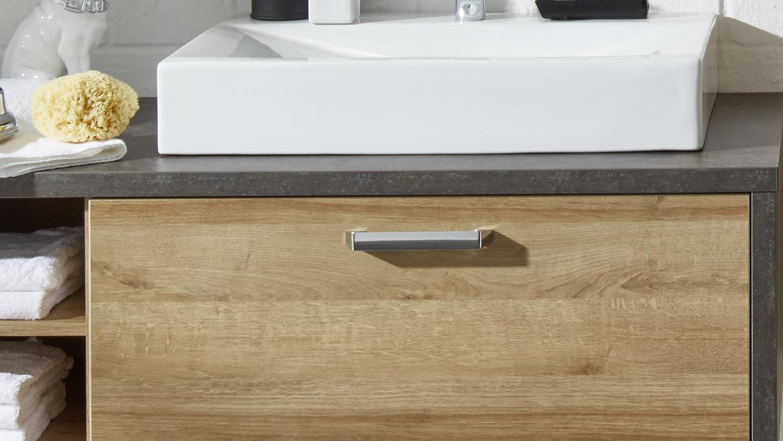 waschbeckenunterschrank 2 bahia mit waschbecken eiche riviera. Black Bedroom Furniture Sets. Home Design Ideas