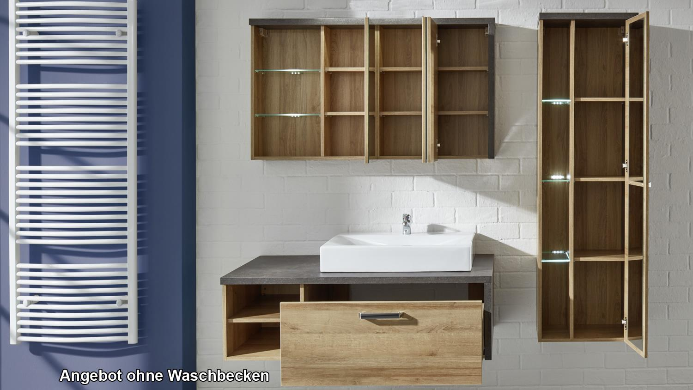 badezimmer set 1 bahia eiche riviera honig und beton dunkel. Black Bedroom Furniture Sets. Home Design Ideas