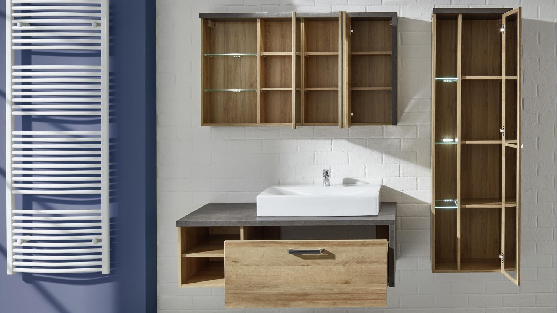 set 2 bahia mit waschbecken eiche riviera beton, Badezimmer ideen