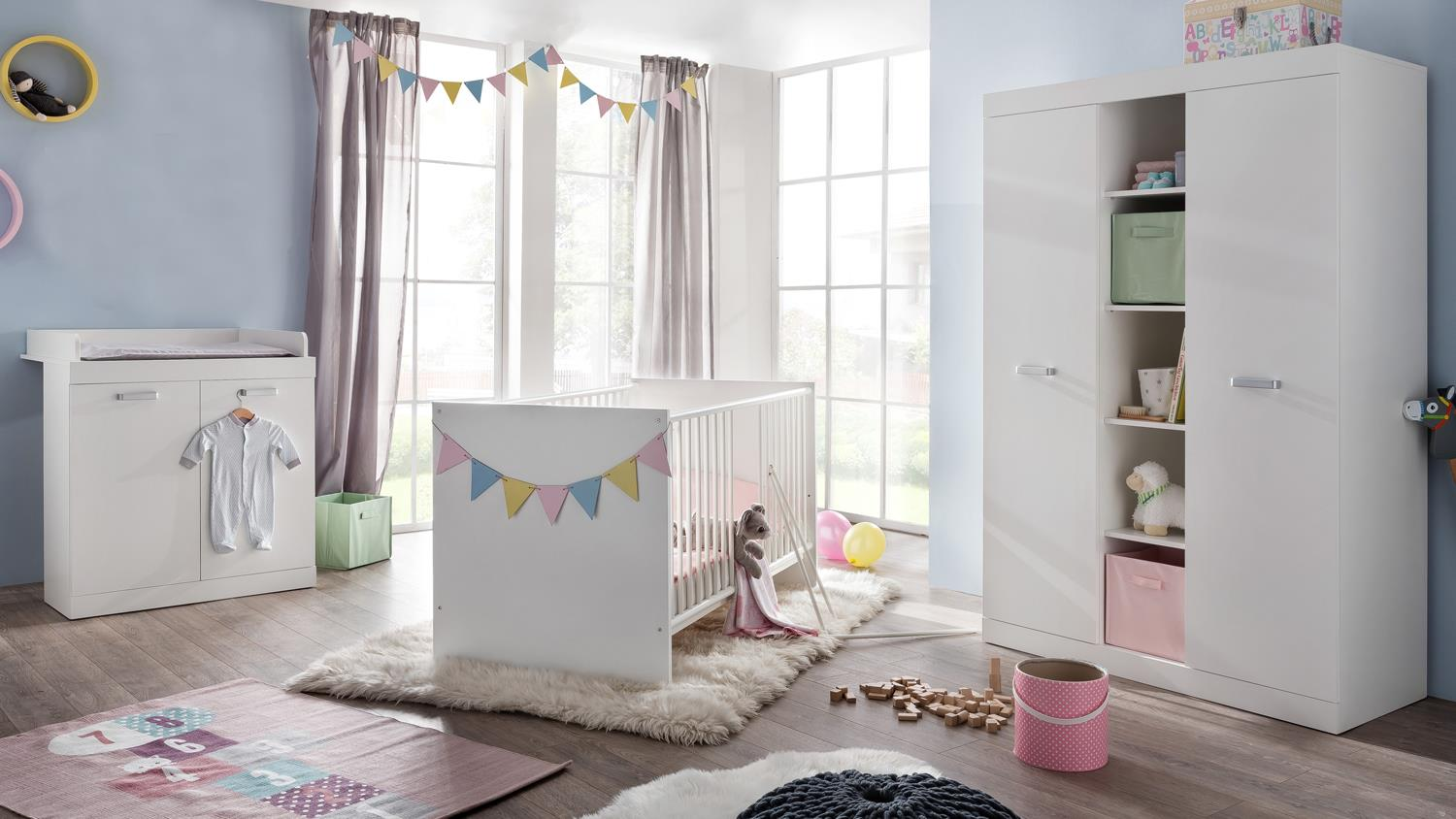 babyzimmer rona in wei kinderzimmer 3 teilig. Black Bedroom Furniture Sets. Home Design Ideas