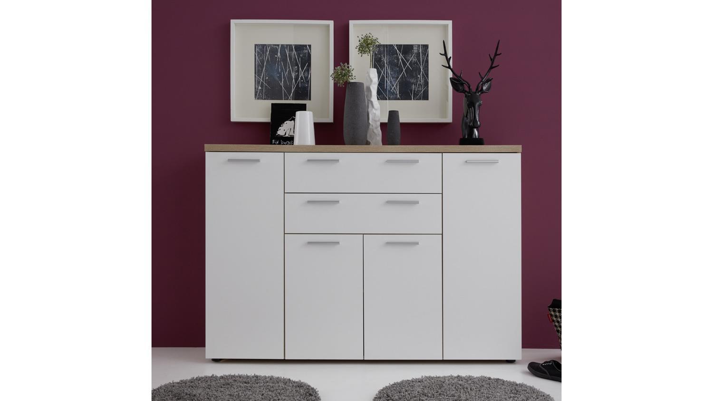 kommode bravos in eiche s gerau hell und wei mit 4 t ren. Black Bedroom Furniture Sets. Home Design Ideas