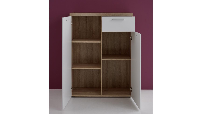 kommode bravos in eiche s gerau hell und wei mit 2 t ren. Black Bedroom Furniture Sets. Home Design Ideas