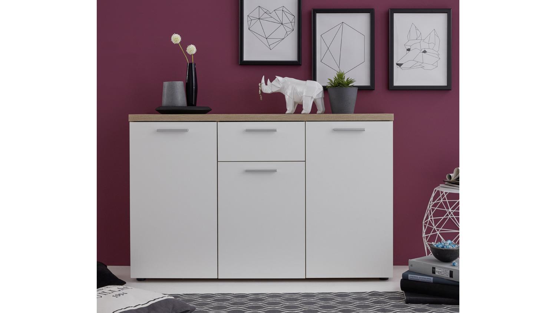kommode bravos in eiche s gerau hell und wei mit 3 t ren. Black Bedroom Furniture Sets. Home Design Ideas