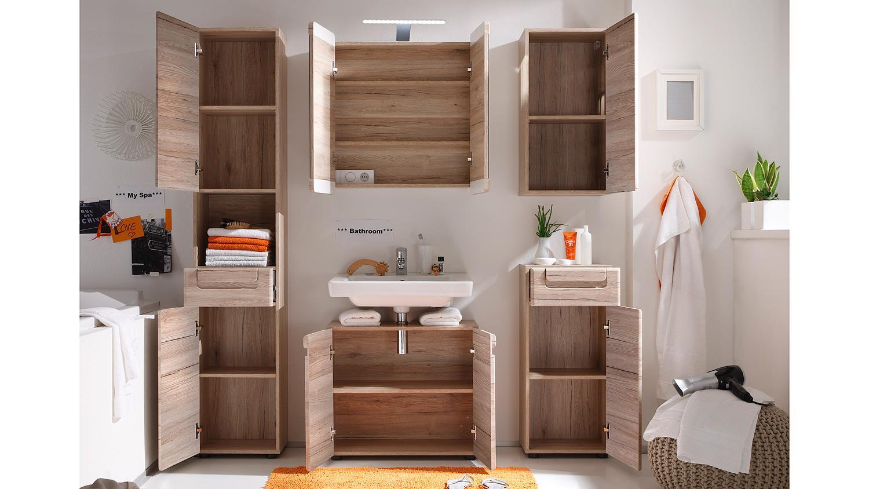 badezimmer 2 malea in eiche san remo hell tiefzieh 5 teilig. Black Bedroom Furniture Sets. Home Design Ideas