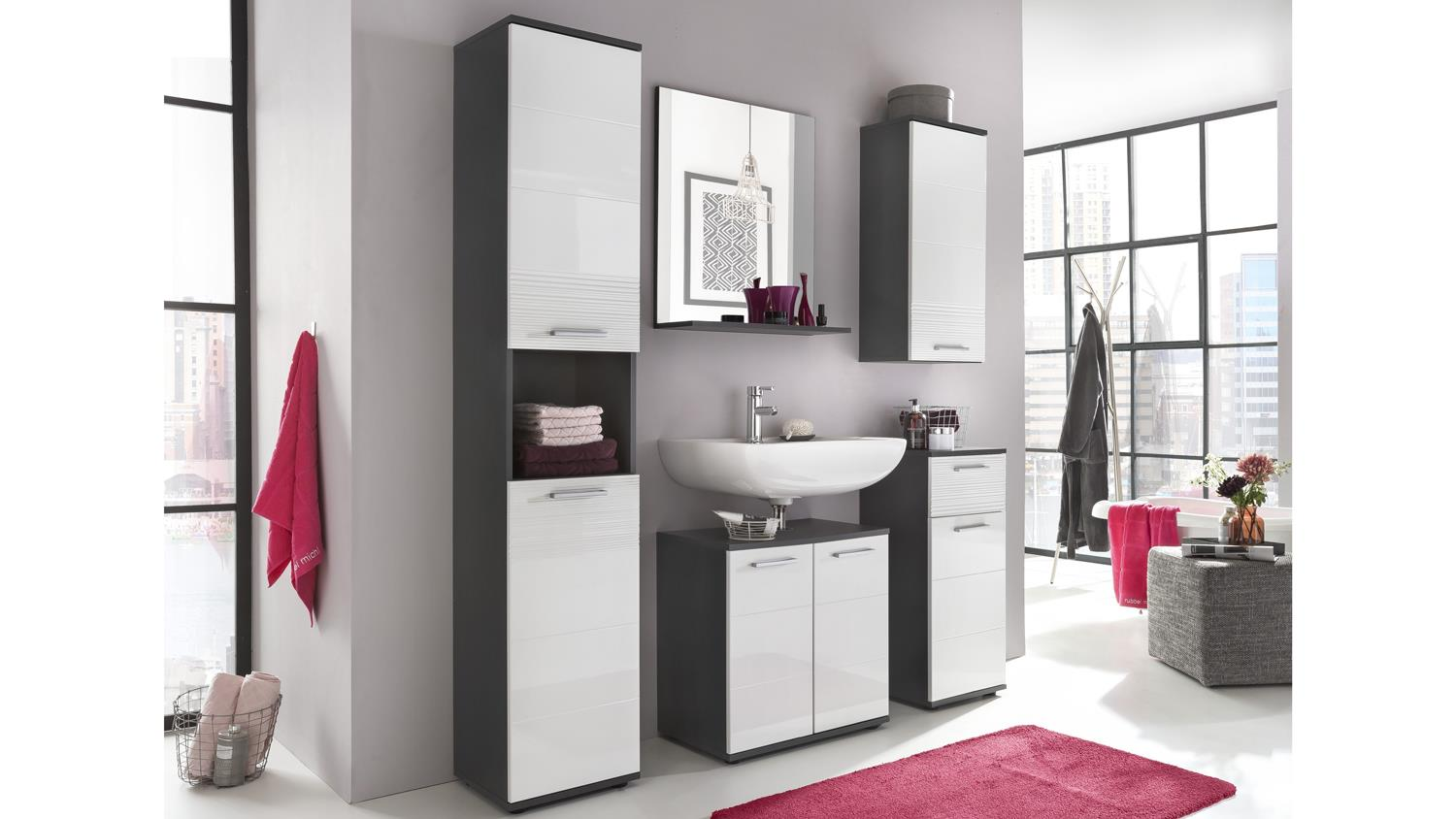 badezimmer smart in grau matt und wei hochglanz tiefzieh mit spiegel. Black Bedroom Furniture Sets. Home Design Ideas