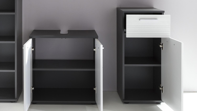 badezimmer smart in grau matt und wei hochglanz tiefzieh mit spiegel. Black Bedroom Furniture Sets. Home Design Ideas