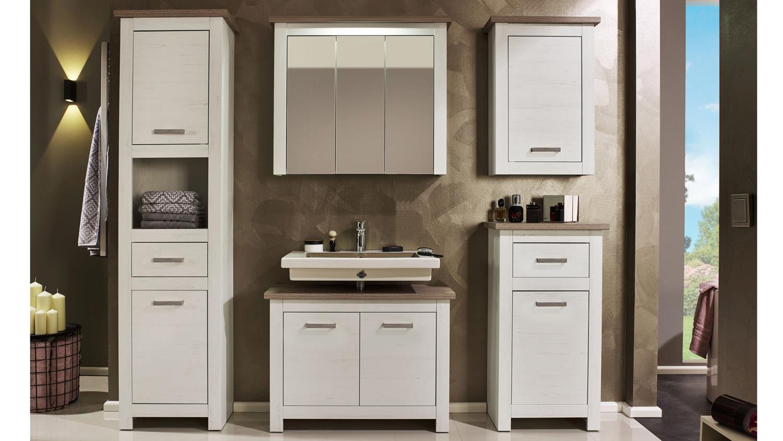 badezimmer lotte badm bel set in pinie wei und nelson eiche braun. Black Bedroom Furniture Sets. Home Design Ideas