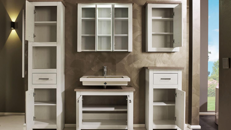 LOTTE Badmöbel Set in Pinie weiß und Nelson Eiche braun