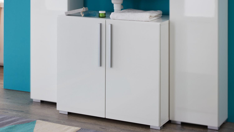 waschbeckenunterschrank enjoy wei melamin und hochglanz. Black Bedroom Furniture Sets. Home Design Ideas