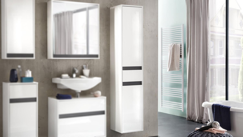Badschrank hängend hochglanz  Hochschrank SOL Badschrank in weiß Melamin Hochglanz hängend