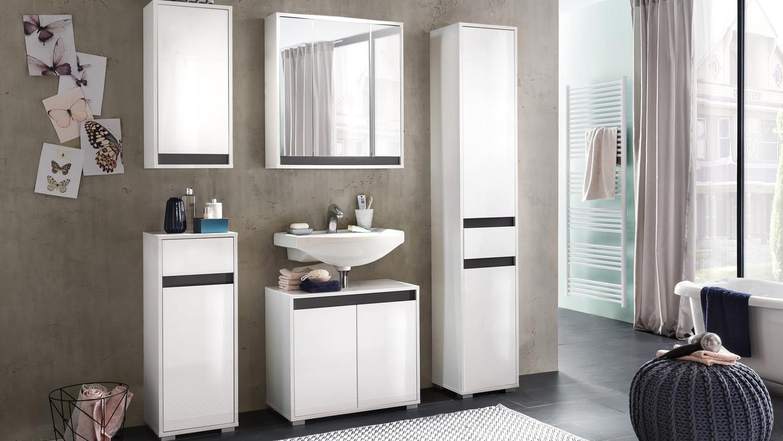 bad hochschrank sol badschrank in wei melamin hochglanz. Black Bedroom Furniture Sets. Home Design Ideas