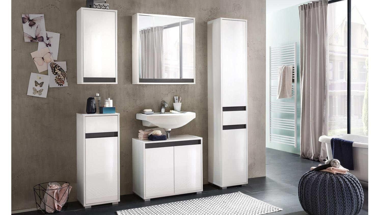badezimmer sol badm bel set 2 in wei melamin hochglanz. Black Bedroom Furniture Sets. Home Design Ideas