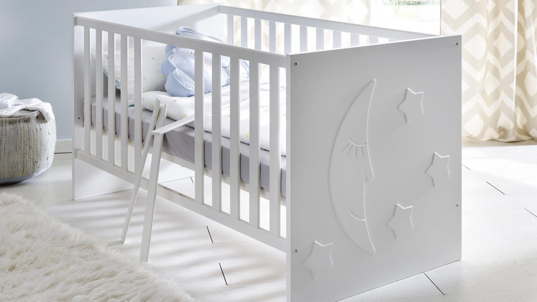 babybett stars gitterbett in wei matt tiefzieh 70x140 cm. Black Bedroom Furniture Sets. Home Design Ideas