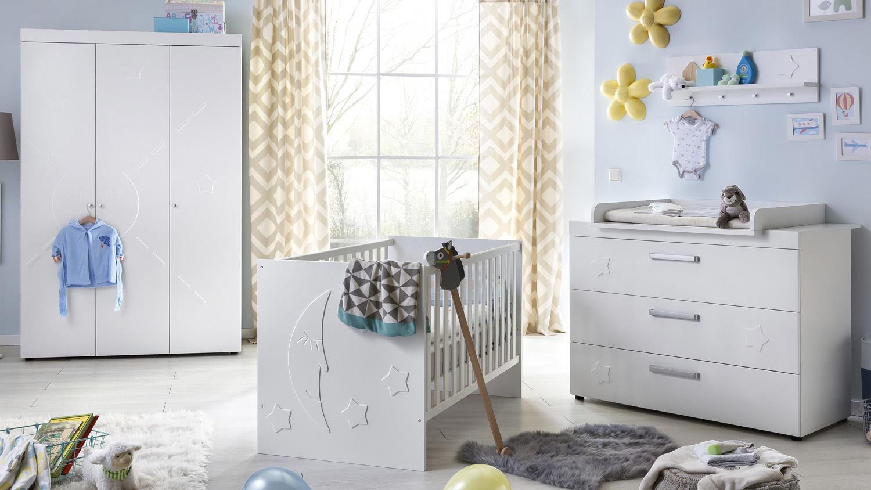 babyzimmer stars set kinderzimmer in wei matt tiefzieh. Black Bedroom Furniture Sets. Home Design Ideas