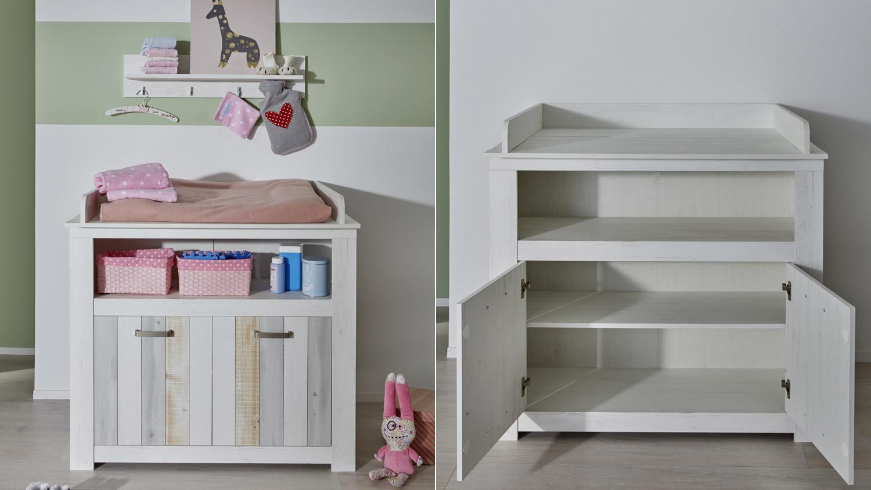 Babyzimmer Set JOSHUA Schrank Babybett Wickelkommode In Pinie Weiß