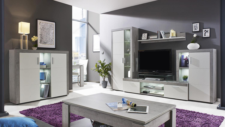 wohnwand creek anbauwand wohnkombi wohnzimmer wei und beton mit led. Black Bedroom Furniture Sets. Home Design Ideas