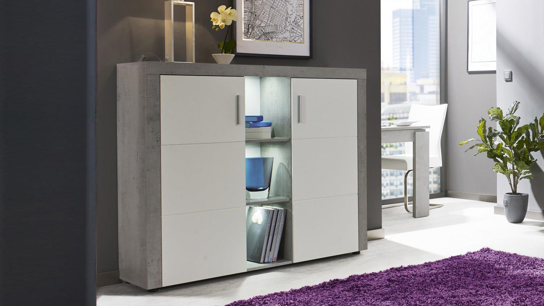 CREEK Anrichte Sideboard Schrank Wohnzimmer weiß und Beton