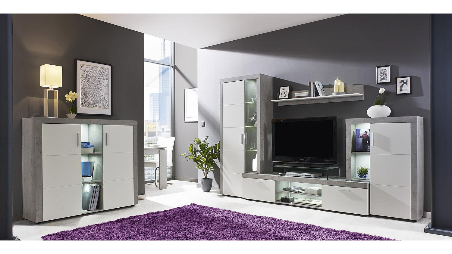 highboard creek anrichte sideboard schrank wohnzimmer wei und beton. Black Bedroom Furniture Sets. Home Design Ideas