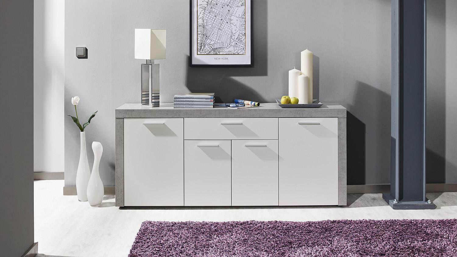 sideboard creek anrichte kommode schrank wohnzimmer wei. Black Bedroom Furniture Sets. Home Design Ideas