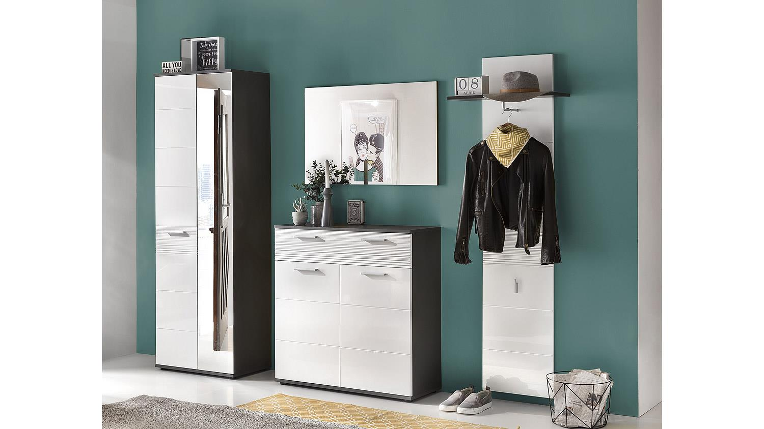 garderobenset smart garderobe flurm bel in wei hochglanz und grau. Black Bedroom Furniture Sets. Home Design Ideas