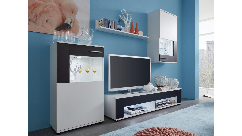 wohnwand jack anbauwand wohnkombi wohnzimmer in wei und schwarz. Black Bedroom Furniture Sets. Home Design Ideas