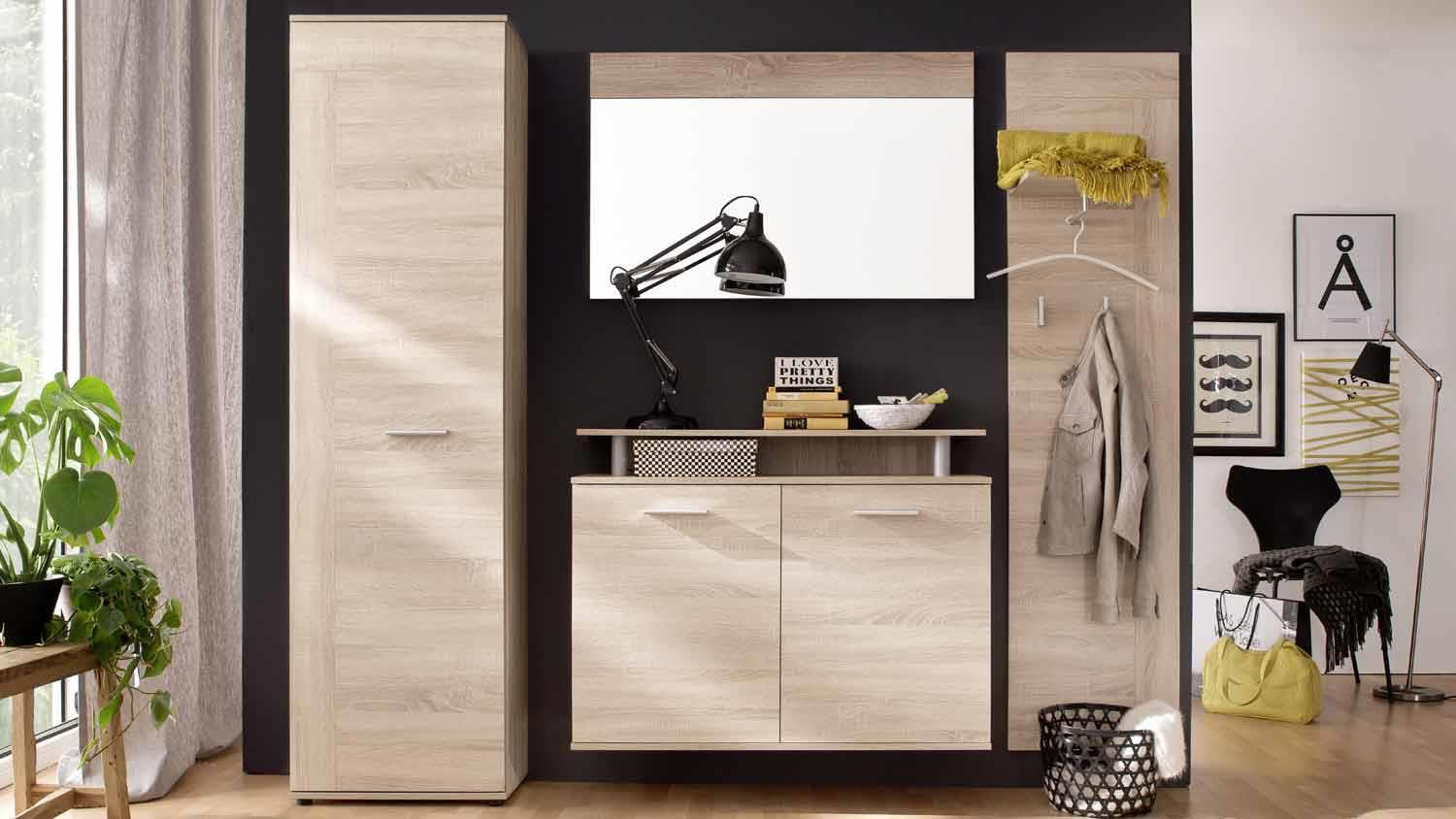 garderobe jack 4 teiliges set flurm bel in eiche s gerau hell. Black Bedroom Furniture Sets. Home Design Ideas