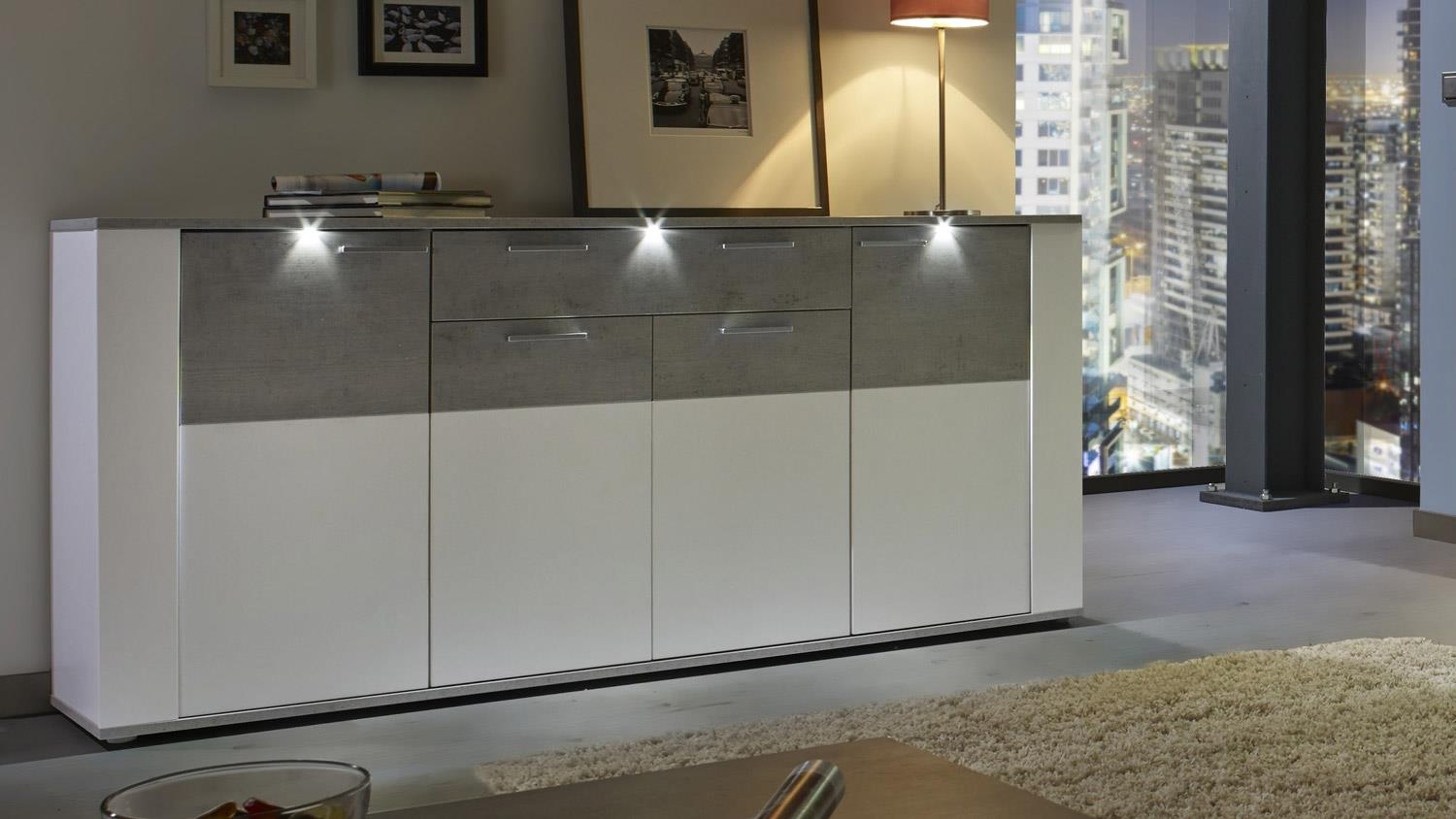 sideboard paris kommode anrichte schrank wei beton industry mit led. Black Bedroom Furniture Sets. Home Design Ideas