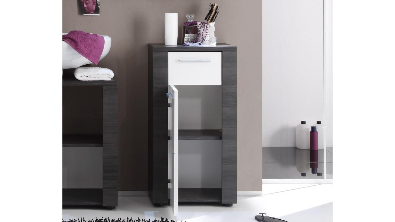Kommode XPRESS Bad Schrank in Esche grau und weiß mit Schubkasten