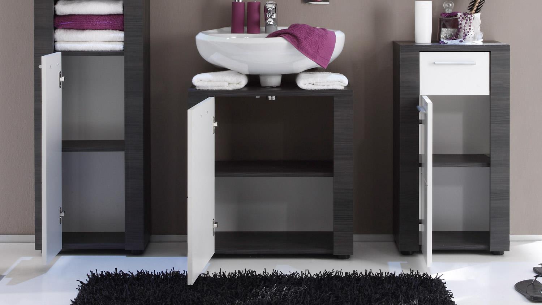 Badezimmer XPRESS In Esche Grau Und Weiß Inkl. LED Beleuchtung 5 Tlg